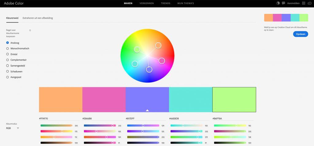 adobe kleuren samenstelling